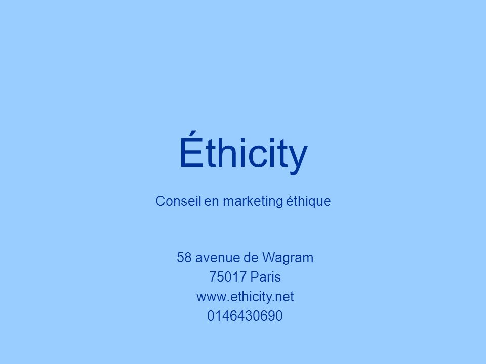 Conseil en marketing éthique