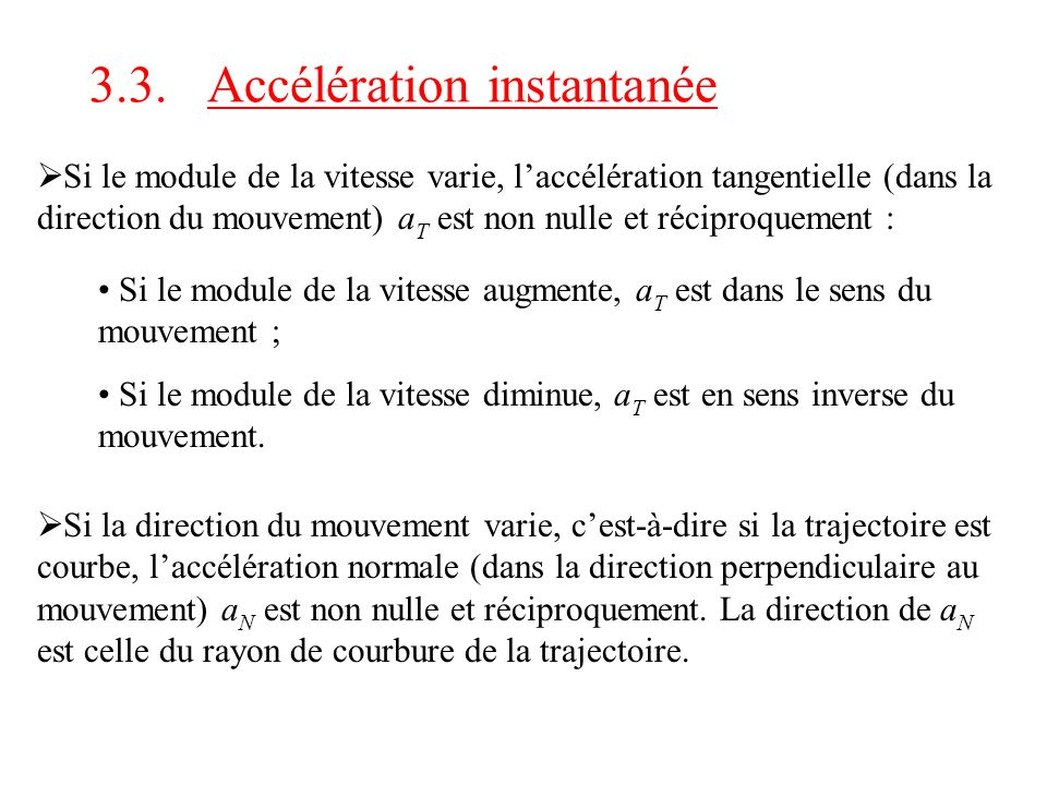3.3. Accélération instantanée