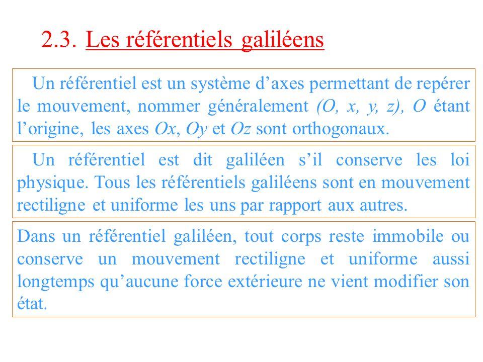 2.3. Les référentiels galiléens