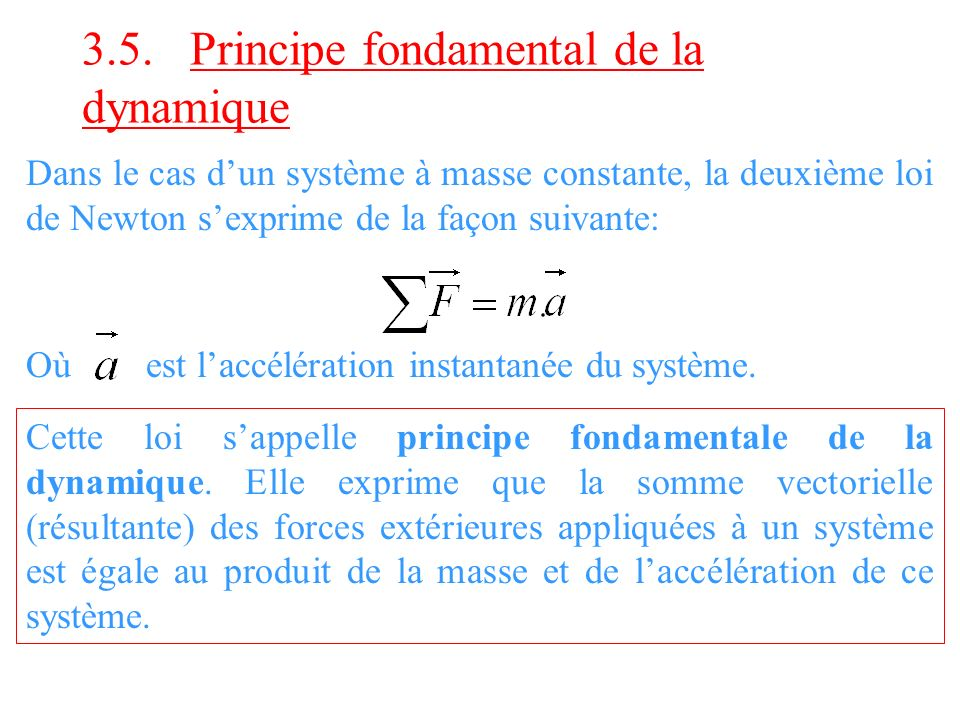 3.5. Principe fondamental de la dynamique