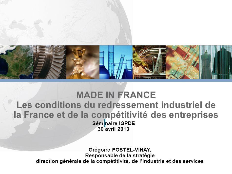 MADE IN FRANCE Les conditions du redressement industriel de la France et de la compétitivité des entreprises.
