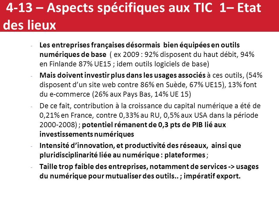 4-13 – Aspects spécifiques aux TIC 1– Etat des lieux