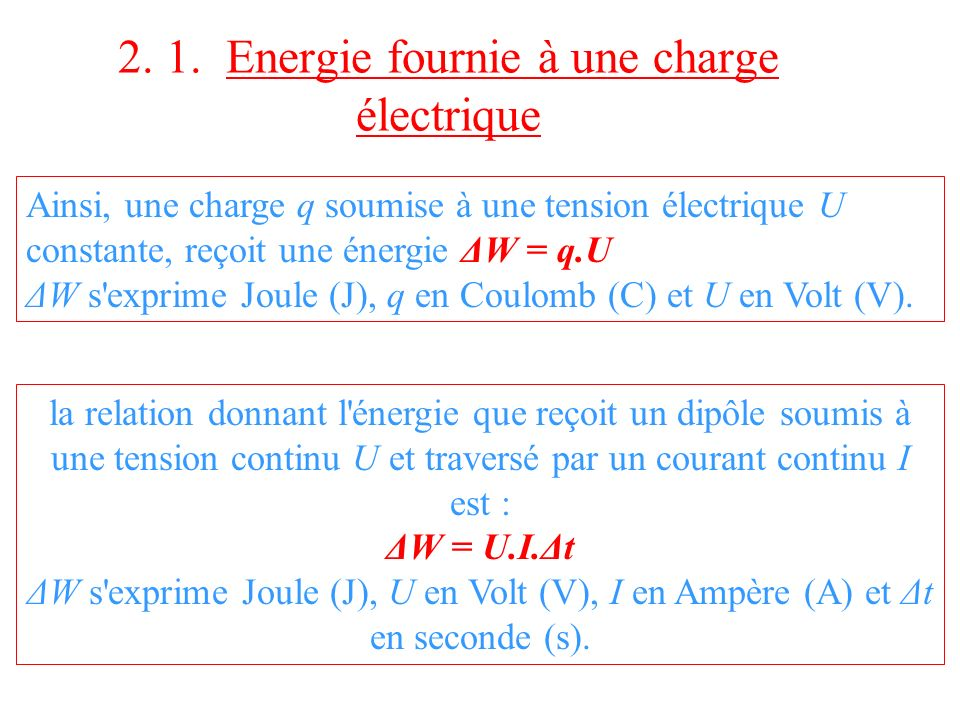 2. 1. Energie fournie à une charge électrique