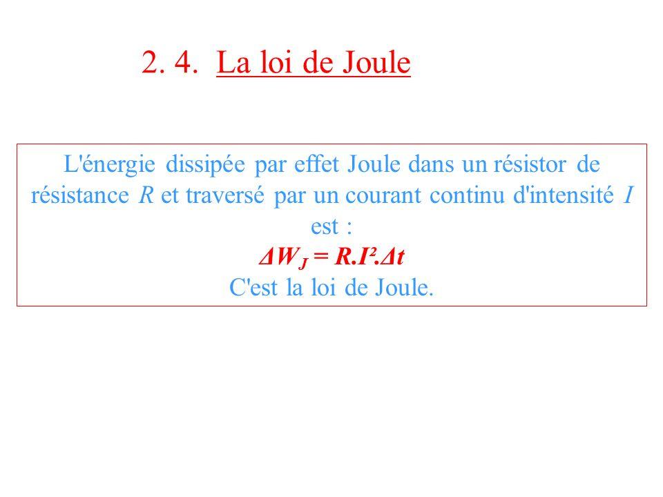2. 4. La loi de Joule