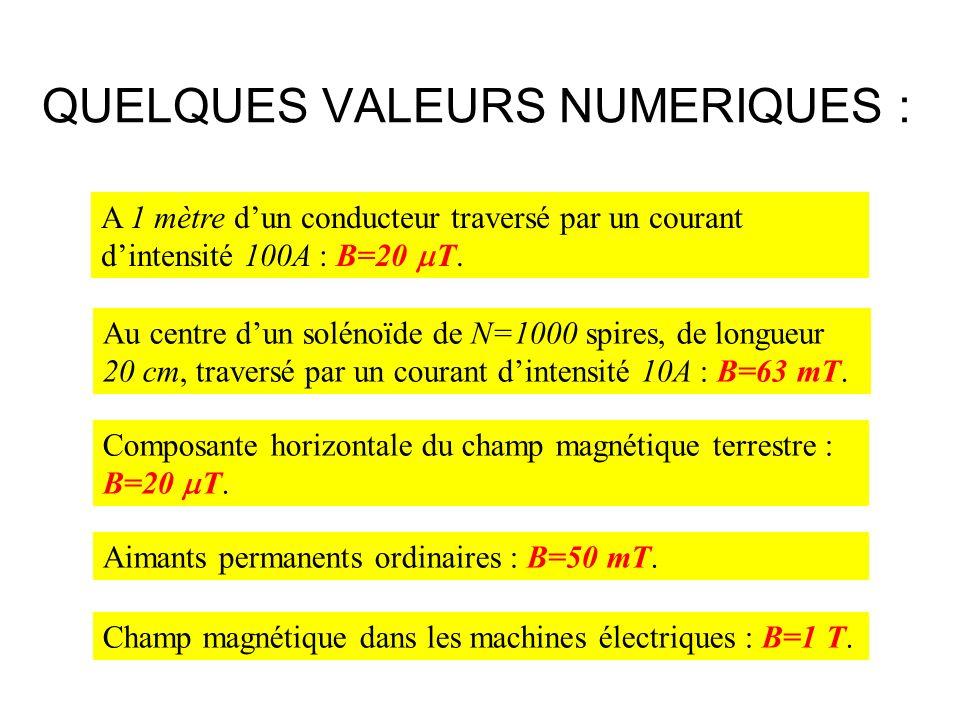 QUELQUES VALEURS NUMERIQUES :