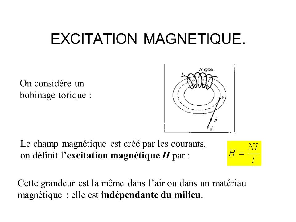 EXCITATION MAGNETIQUE.