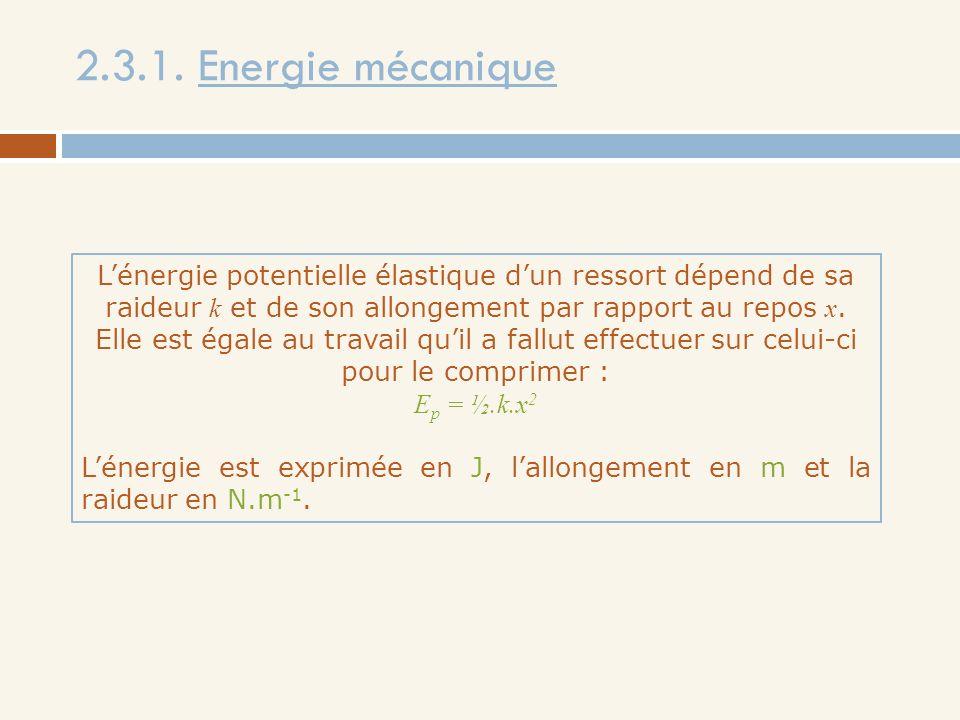 2.3.1. Energie mécanique
