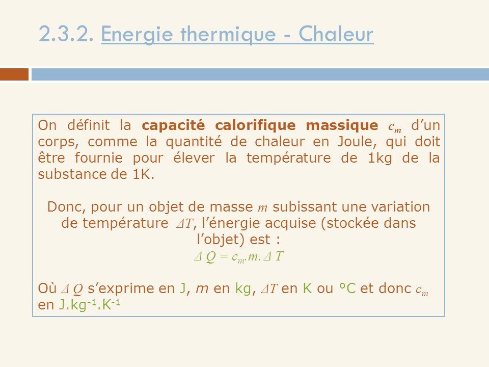 2.3.2. Energie thermique - Chaleur