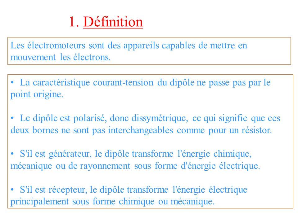 1. Définition Les électromoteurs sont des appareils capables de mettre en mouvement les électrons.