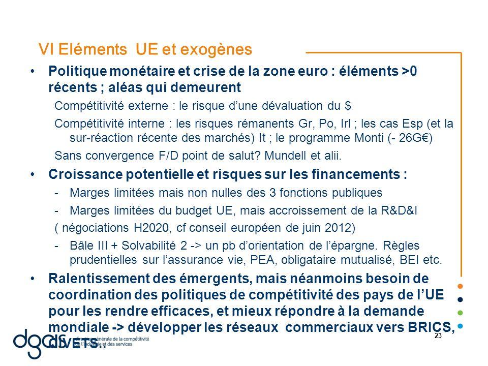 VI Eléments UE et exogènes