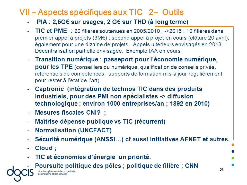 VII – Aspects spécifiques aux TIC 2– Outils