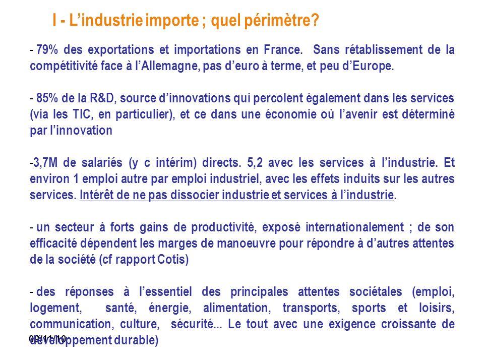 I - L'industrie importe ; quel périmètre