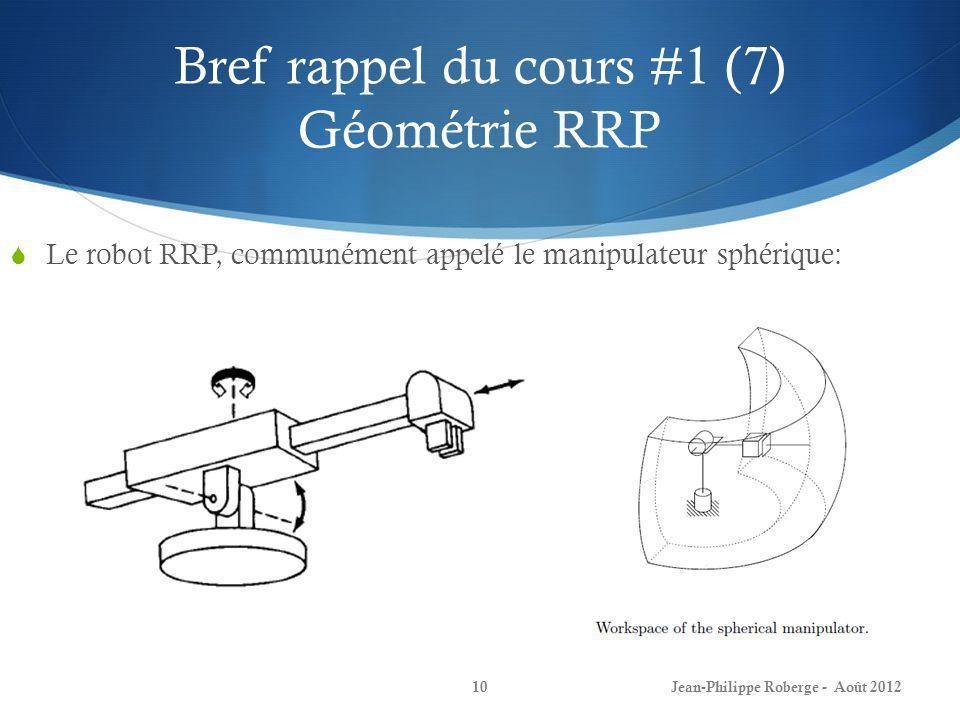 Bref rappel du cours #1 (7) Géométrie RRP