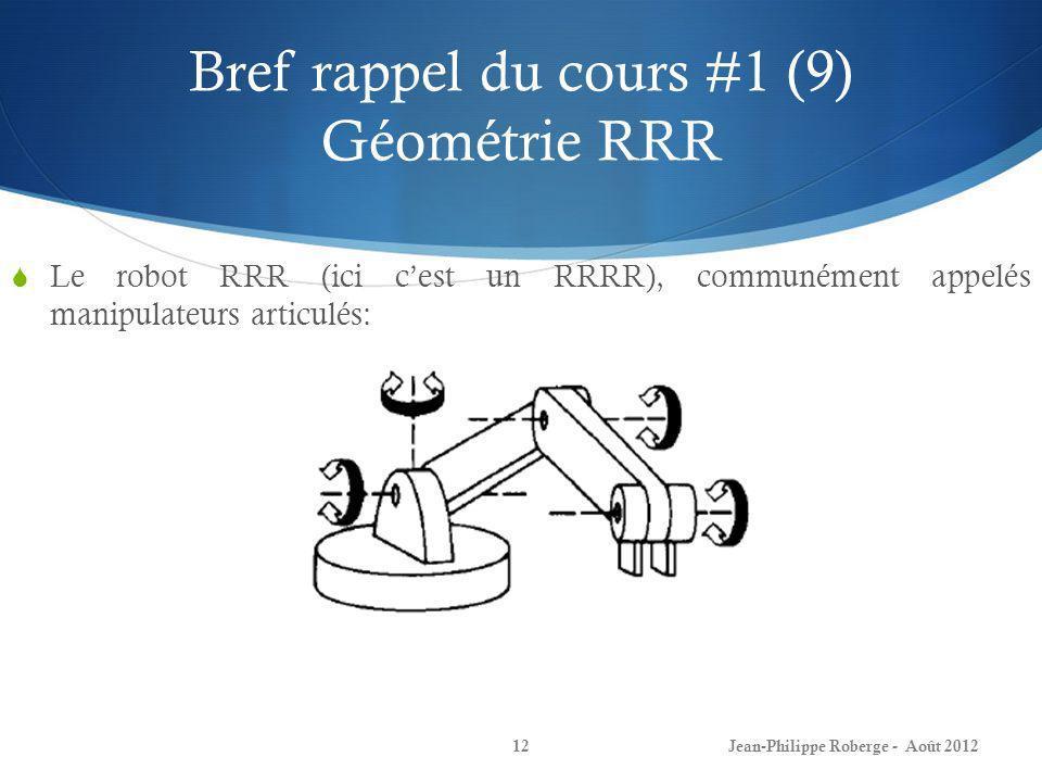 Bref rappel du cours #1 (9) Géométrie RRR