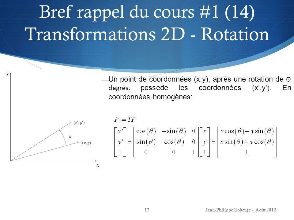 Bref rappel du cours #1 (14) Transformations 2D - Rotation