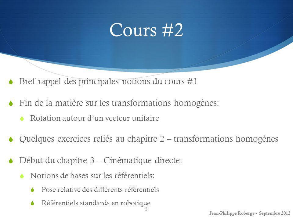 Cours #2 Bref rappel des principales notions du cours #1