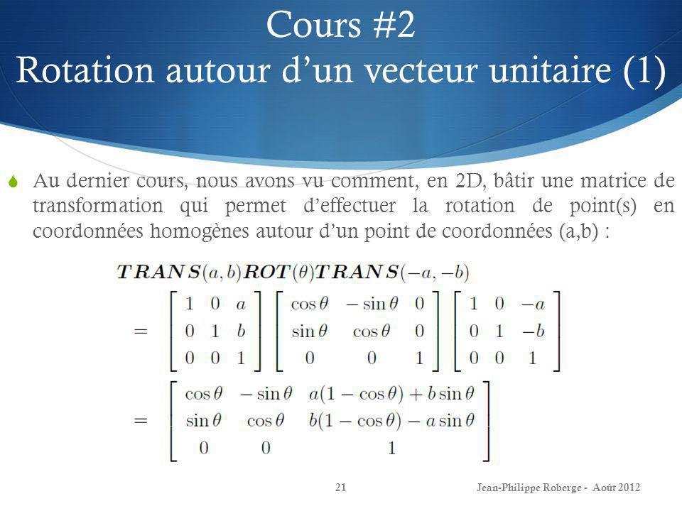 Cours #2 Rotation autour d'un vecteur unitaire (1)