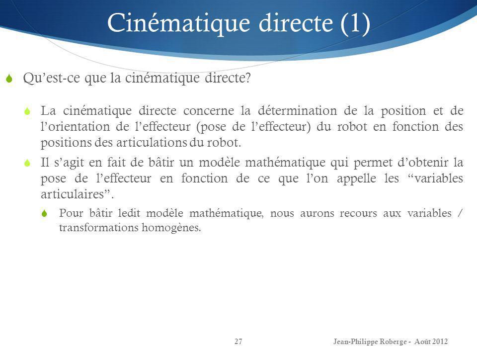 Cinématique directe (1)