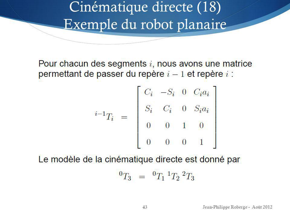 Cinématique directe (18) Exemple du robot planaire