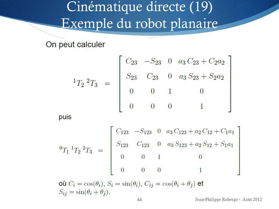 Cinématique directe (19) Exemple du robot planaire