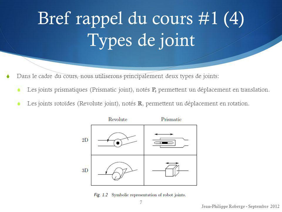 Bref rappel du cours #1 (4) Types de joint