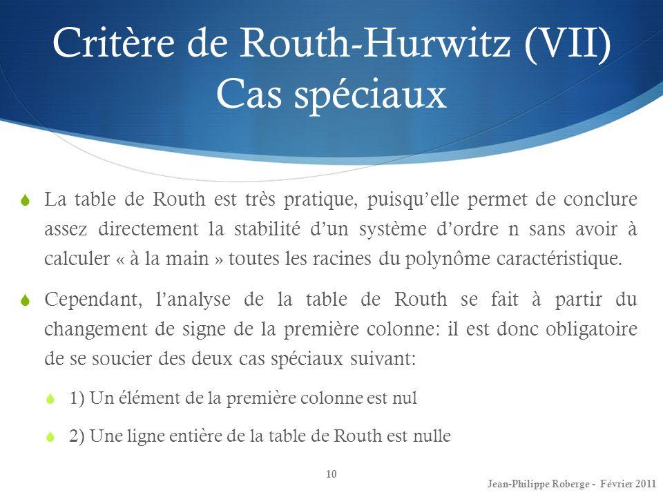 Critère de Routh-Hurwitz (VII) Cas spéciaux