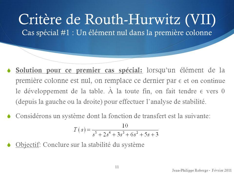 Critère de Routh-Hurwitz (VII) Cas spécial #1 : Un élément nul dans la première colonne