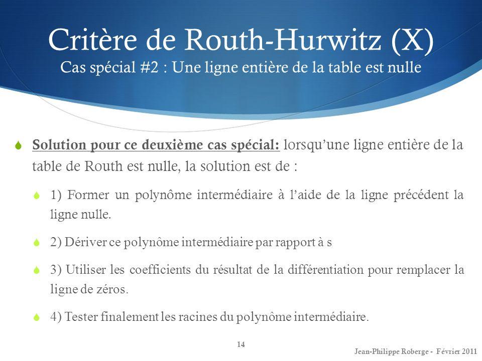 Critère de Routh-Hurwitz (X) Cas spécial #2 : Une ligne entière de la table est nulle