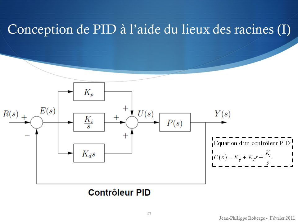 Conception de PID à l'aide du lieux des racines (I)