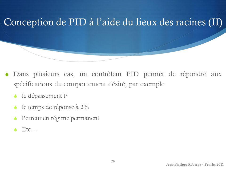 Conception de PID à l'aide du lieux des racines (II)