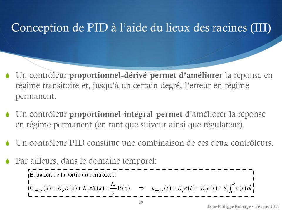 Conception de PID à l'aide du lieux des racines (III)