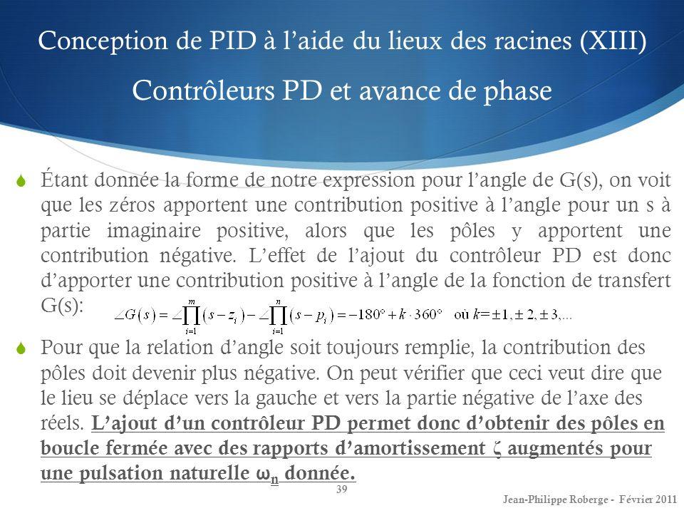 Conception de PID à l'aide du lieux des racines (XIII) Contrôleurs PD et avance de phase