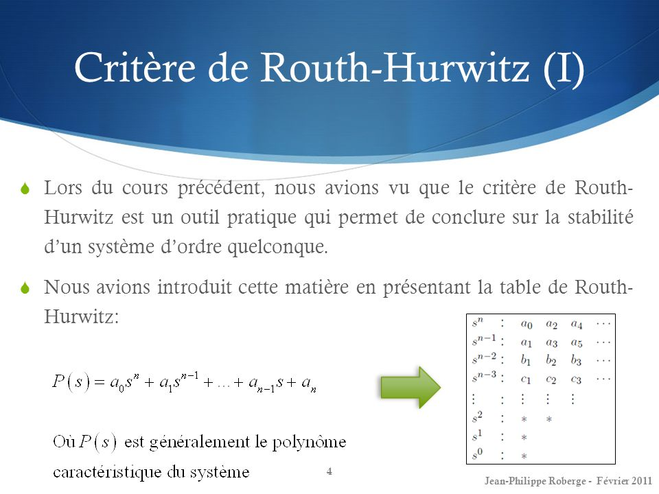 Critère de Routh-Hurwitz (I)