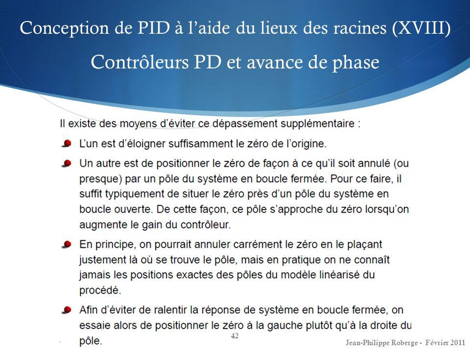 Conception de PID à l'aide du lieux des racines (XVIII) Contrôleurs PD et avance de phase