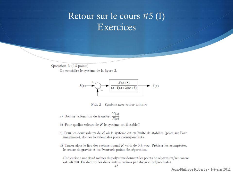 Retour sur le cours #5 (I) Exercices