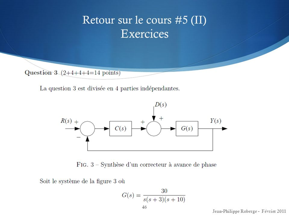 Retour sur le cours #5 (II) Exercices