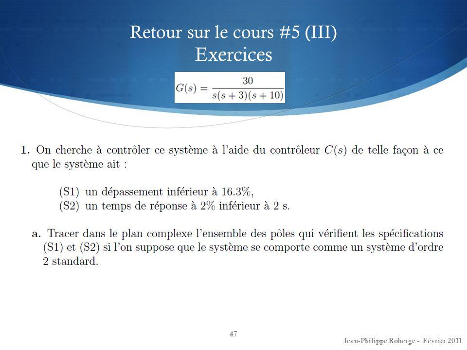 Retour sur le cours #5 (III) Exercices
