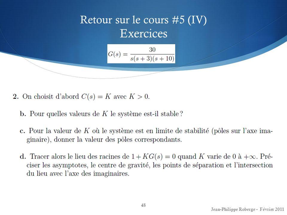 Retour sur le cours #5 (IV) Exercices
