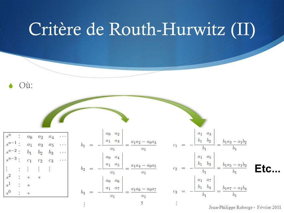 Critère de Routh-Hurwitz (II)