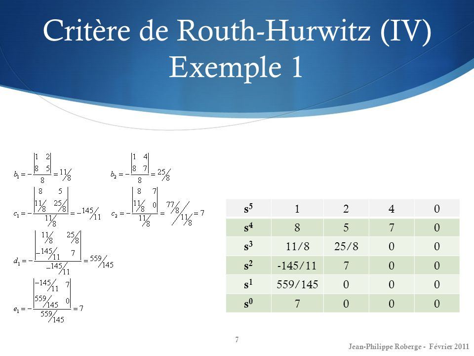 Critère de Routh-Hurwitz (IV) Exemple 1