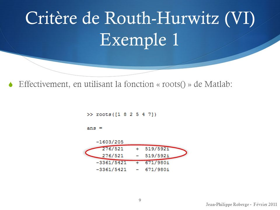 Critère de Routh-Hurwitz (VI) Exemple 1