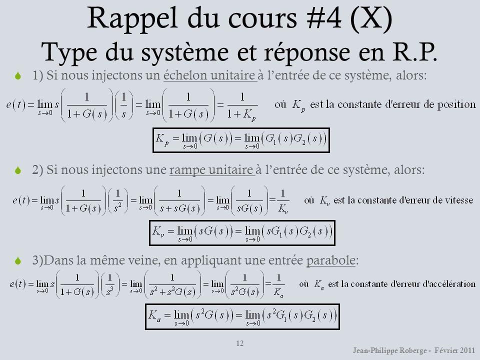 Rappel du cours #4 (X) Type du système et réponse en R.P.