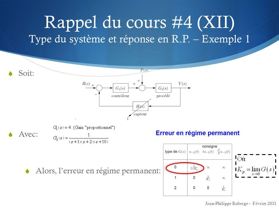 Rappel du cours #4 (XII) Type du système et réponse en R. P