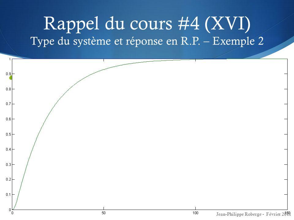 Rappel du cours #4 (XVI) Type du système et réponse en R. P