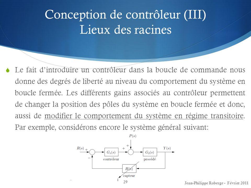 Conception de contrôleur (III) Lieux des racines