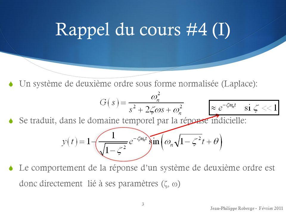 Rappel du cours #4 (I) Un système de deuxième ordre sous forme normalisée (Laplace): Se traduit, dans le domaine temporel par la réponse indicielle: