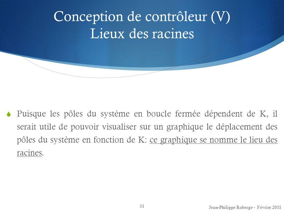 Conception de contrôleur (V) Lieux des racines