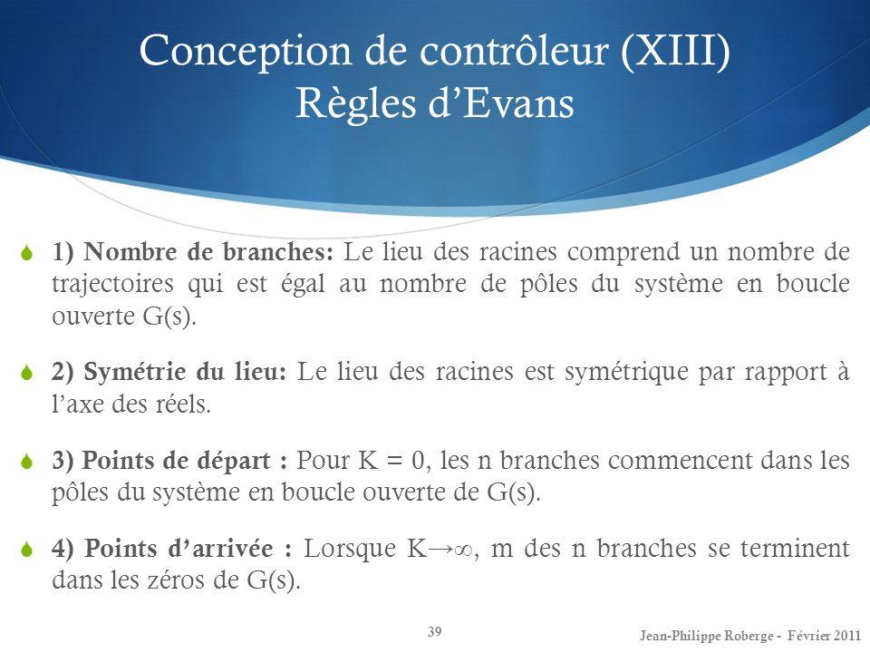 Conception de contrôleur (XIII) Règles d'Evans
