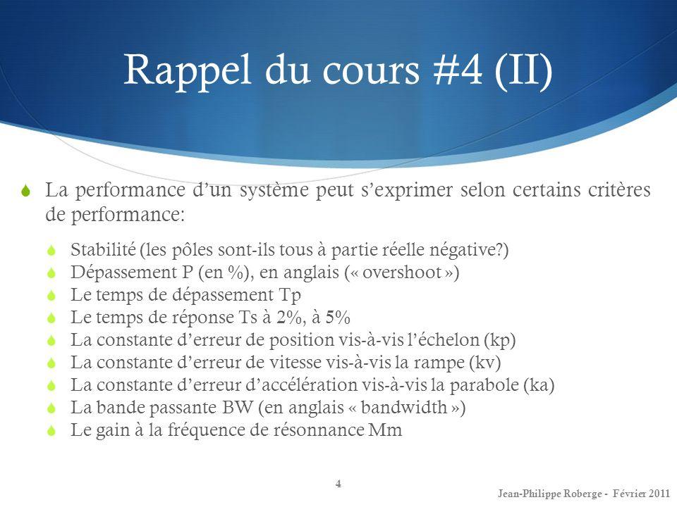 Rappel du cours #4 (II) La performance d'un système peut s'exprimer selon certains critères de performance: