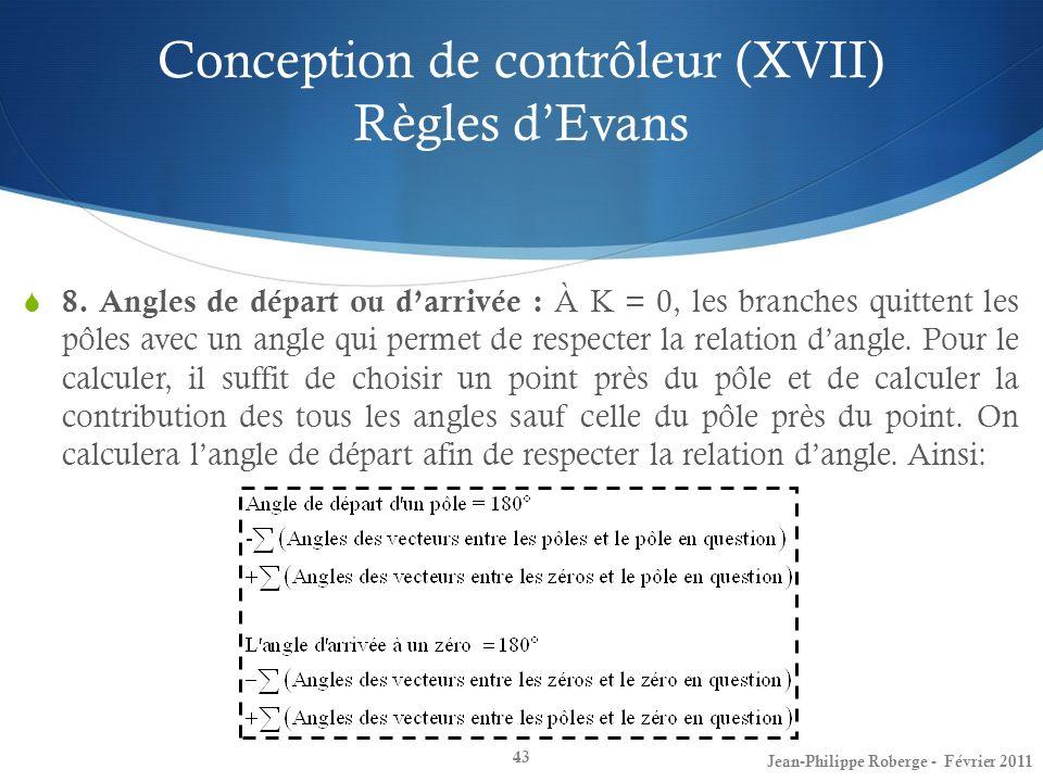 Conception de contrôleur (XVII) Règles d'Evans